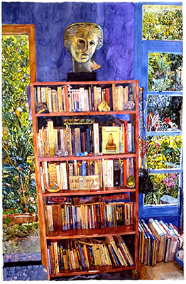 Bookcase - watercolor on paper painting by Joseph Raffael