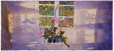 Orchids for Juan G. - watercolor on paper painting by Joseph Raffael