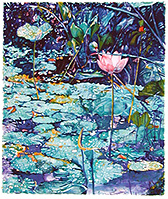 Bali Pond - watercolor on paper painting by Joseph Raffael