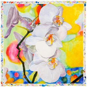 Orchids in Summer · watercolor on paper, 51.4 x 51.4 cm - 20 1/4 x 20 1/4 in. | 2018 by Joseph Raffael