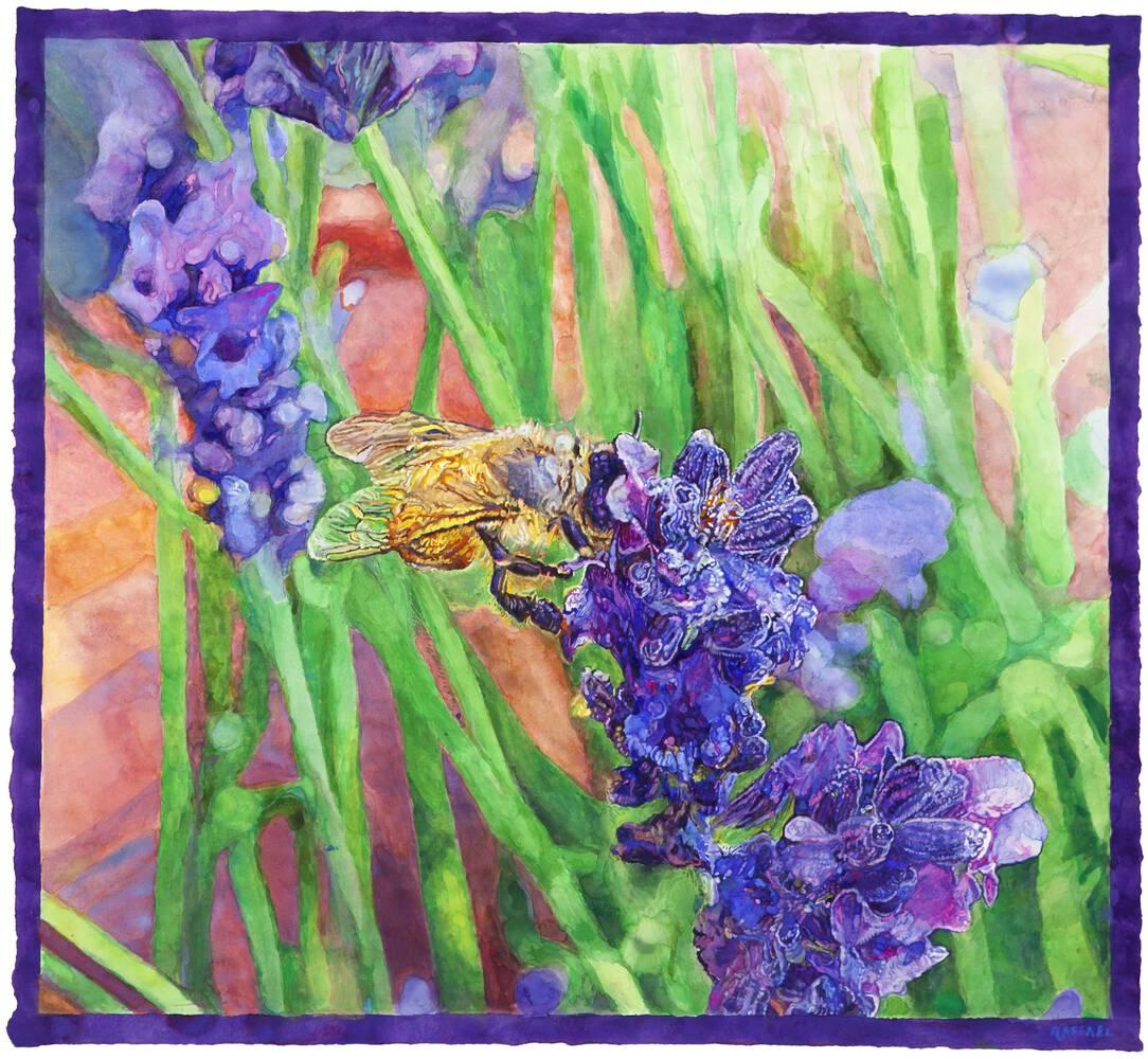 Hung Liu Bee and Blue Flower - watercolor on paper by Joseph Raffael